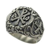 Knights Templar IHSV Alpha Omega Chi Rho Sterling Silver 925 men's Ring US Sizes