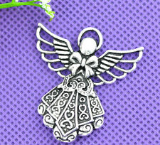 50 Silver Tone Angel Charms Pendants 42x39mm