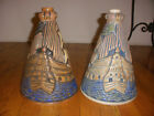 "Rare pair of antique 11"" French Joseph Mougin Nancy art deco pottery ship vases"