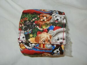 """Dog Puppy Belly Band Wrap Contoured Diaper Male Puppy lined 16.5"""" XMAS PUPPIES"""