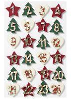 Adventskalenderzahlen 1-24 rot grün creme Filz Filzzahlen Stern-Baum Säckchen
