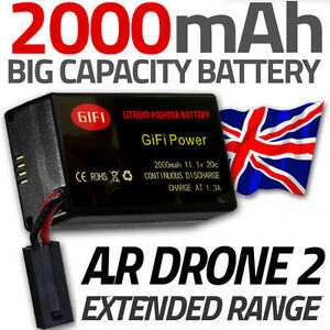 1 x 2000MaH Spare Upgrade Replacement Battery for Parrot AR Drone 2.0