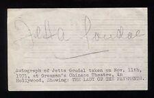 Jetta Goudal Signed Album Page Vintage Autographed Signature