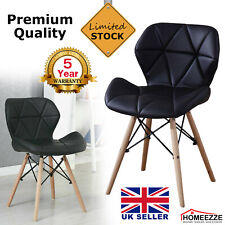 4x Eiffel Dining Chairs Wood Legs Padded Seat Office Kitchen Lounge Chair Black
