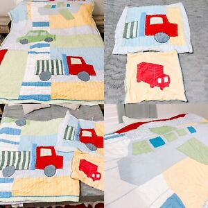 3pc POTTERY BARN KIDS Airplane bus TRUCK CAR Patchwork TWIN Quilt Pillow Cases