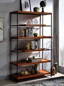 Oaken Honey Oak Finish Wood Black Metal Frame 6 tier book case shelf unit