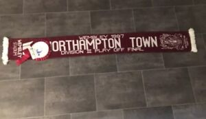 NORTHAMPTON TOWN RETRO FOOTBALL SCARF AND ROSETTE - PLAY OFF WINNERS 1997