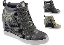 Damenschuhe  Keilabsatz Hidden Wedges Stern Freizeitschuhe Glanzoptik Sneakers