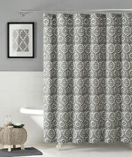 100% Cotton Fabric Shower Curtain: Silver & White Floral Medallion Design, 72x72