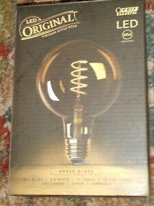 Feit Electric 60-Watt Equivalent G40 Dimmable LED Amber Glass Edison Light Bulb