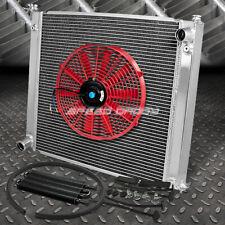 "2-ROW ALUMINUM RADIATOR+1X 16""FAN RED+BLACK OIL COOLER FOR 90-96 300ZX Z32 VG30"