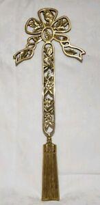 "Vintage Brass Bow & Tassel Wall Decor  24"" Long"