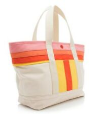 TORY BURCH STRIPE T CANVAS SMALL TOTE-NATURAL POPPY