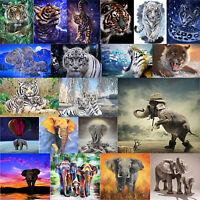 5D DIY Full Drill Diamond Painting Elephant/Tiger Cross Stitch Mosaic Craft Kits