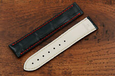 OMEGA Watch Strap Clasp Elegant Black Stitching Red Real Leather Crocodile