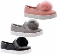 Girls  kids children pom pom fluffy fur trainers sneaker pump shoes fashion shoe