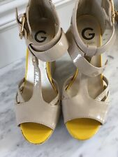 53855ea44aa5 G By Guess Dodge Nude tan Patent Leather Wedge Sandals Size 8M