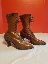 Antique Vintage Victorian Edwardian Womens Lace Up Brown Leather Boots