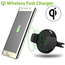 Qi Wireless Fast Charger Holder Car Air Vent Mount Dock For Smart Phone Charging