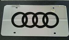 Audi 3D Acrylic License Plate Mirror Chrome & Black