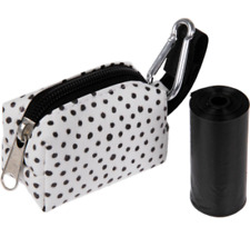 New listing New Dog Waste Bag Pouch White & Black Dots + 15 waste bags