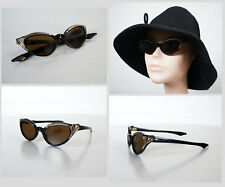 edle Frame France Schwarz Gold Cat Eye Brille Sonnenbrille Rockabilly Ära 50er