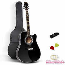 Wooden Acoustic Guitar Classical Folk Full Size Dreadnought 41-Inch Black