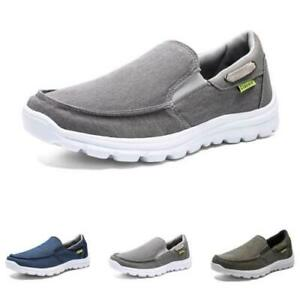 Mens Canvas Pumps Slip on Loafers Shoes Driving Moccasins Breathable Flats New D