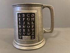 New listing Vintage Pewter Metal Alphabet Mug - Cup - Childs - Kids - Abc
