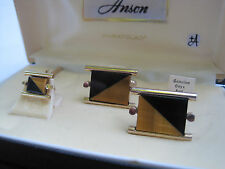 Anson Cufflinks and Tie Tack, Onyx and Tiger's Eye, New Old Stock