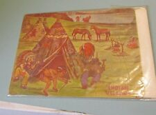 1920's Barbelle Indian Village Jigsaw Puzzle Complete Great Color Braves Teepee