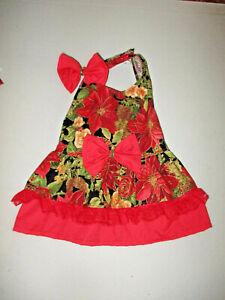 M Dog dress [ red flowers] cotton handmade