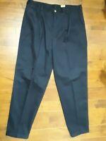 1877 Bachrach Dress Pants  Pleated Front Cuffed Navy Blue 100% Cotton Men 40x34
