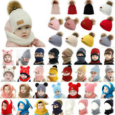 Baby Girl Boys Kids Winter Outdoor Knit Fur Pom Bobble Hat Beanie Caps Head Wrap