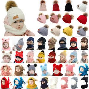 Baby Girl Boys Kids Winter Outdoor Knit Fur Pom Bobble Hat Beanie Cap Head Wrap