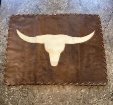 LongHorn Cowhide Leather Placemat or wall hanging Texas Cow Bull Never Used