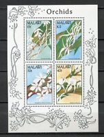 32161) Malawi 1990 MNH New Flowers Orchids S/S
