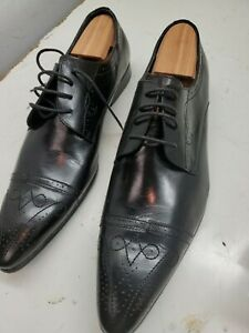 Mens Zota Unique Black Leather Dress Shoes   Size US 13 Pre-owned Oxford
