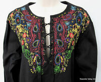 TOGETHER Womens Small / Medium Black Top Embroidered Lace Up Peasant Blouse