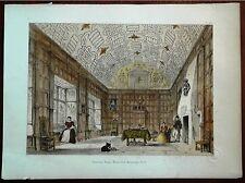 Stampa antica BOUGHTON-MALHERBE CASTLE musica gatto Kent 1869 Old antique print