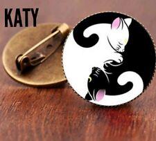 Vintage Yoga Yin and Yang Cat Round Small Brooch Pins Glass Cabochon Spiritual