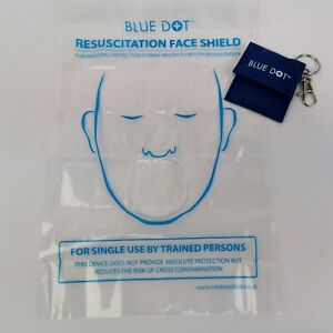 Single Blue Dot CPR Resuscitation Aid with Valve on Keyring . MOUTH to MOUTH.