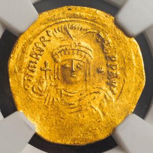 582, Byzantium, Maurice Tiberius. Gold Lghtweight Solidus (23 Siliquae). NGC AU!