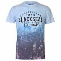 Mens Firetrap Blackseal Fade T Shirt Crew Neck Short Sleeve New