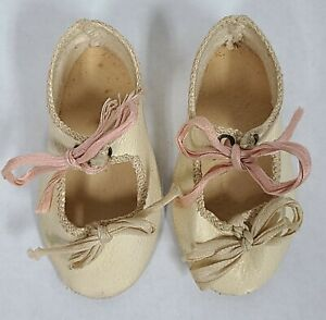 """Antique Leather Doll Shoes w/ Ribbons & Socks Size 5 2-3/4"""" long German Bisque"""