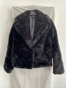 JENNYFER Black Faux Fur Jacket Size S
