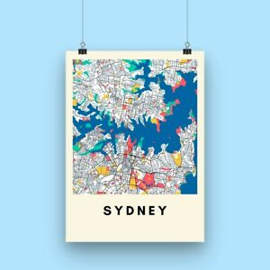 Sydney City Map Print - Multicolored Map Poster A3 size