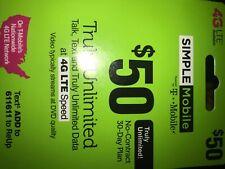 Simple Mobile $50 ReUp Prepaid Airtime Card