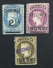 MOMEN: ST HELENA SG #40s,42s,43cs SPECIMEN 1884-94 CROWN CA MINT OG H LOT #5127