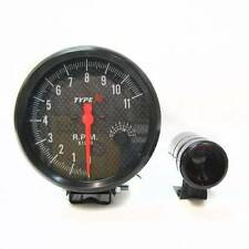 Tachometer Tacho Gauge Rev Counter 5'' Shift Light Rpm Carbon Front